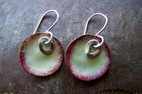 Light Green Round Copper Enamel Earrings