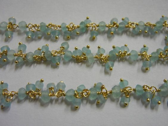Apatite Gold Plated Wire Wrapped Gemstone Cluster Chain - Chain by Foot