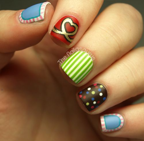 The Nailasaurus: Candy Crush Nail Art. I don't like Candy Crush Saga but I do like this cute selection of nail art!