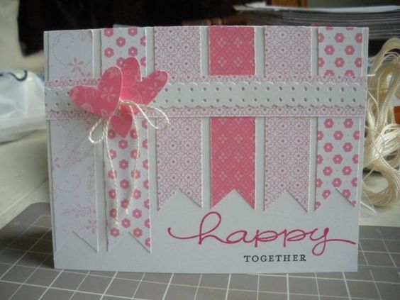 Sweet scrappy card.  So cute. Maybe use yellows and do a bee instead of hearts. Or rainbow colors with balloons. Or flowers