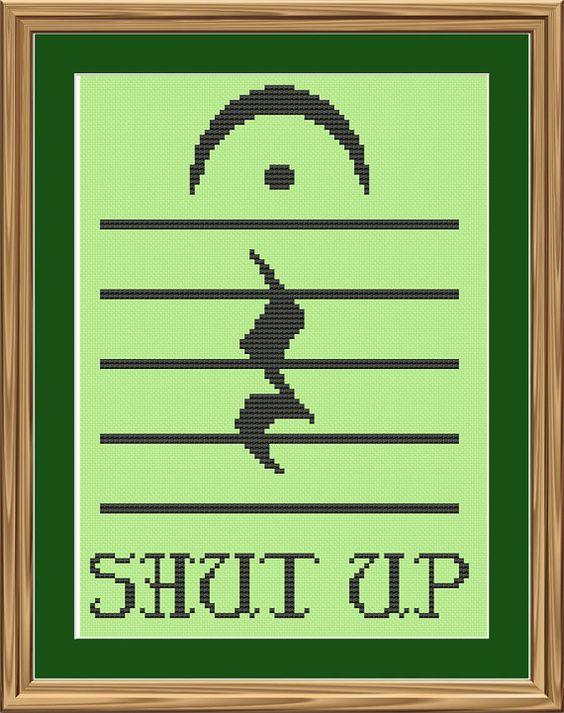Funny music crossstitch pattern Shut up