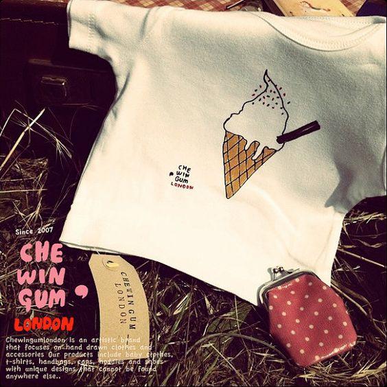 Icecream  Baby Bodysuit/Kids shirt by Chewingumlondon on Etsy, £15.00