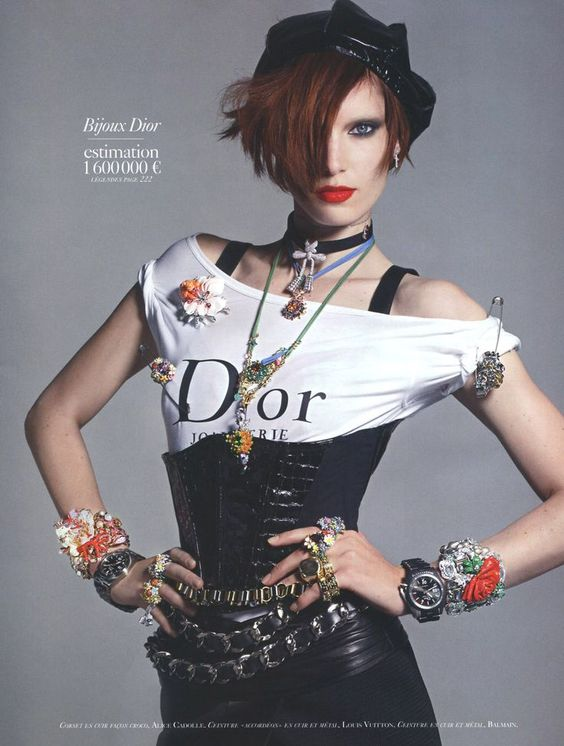 Dior Model with all sorts of Jewelry FROM: lulufrost.tumblr.com/post/ bauble-of-the-day-sporadic-but-spectacular