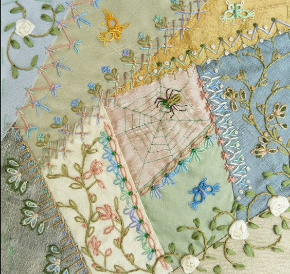Modern Crazy Quilt - look at the beautiful seam treatments and other gorgeous embroidered details. Block copied from International Crazy Quilters site: