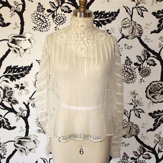 Antique Edwardian White Vintage Lace Blouse Salvagelife