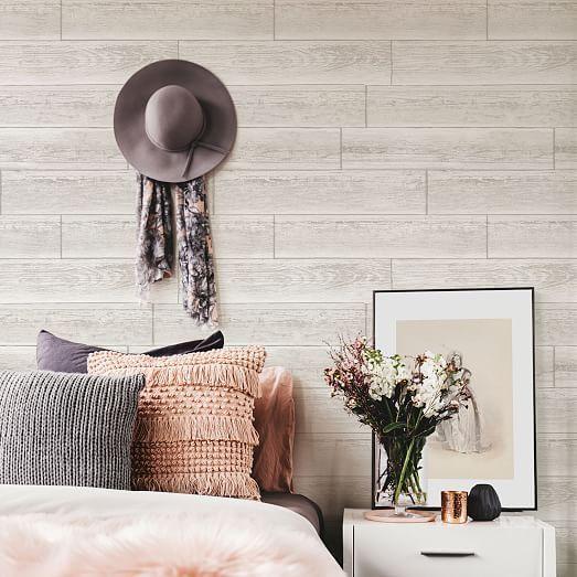 Stacked White Wood Grain Peel Stick Wallpaper Peel And Stick Wallpaper Stikwood Adhesive Wood Paneling Adhesive Wood Paneling