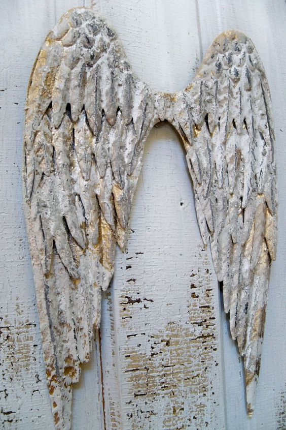 White metal angel wings wall sculpture shabby chic for Angel wings wall decoration
