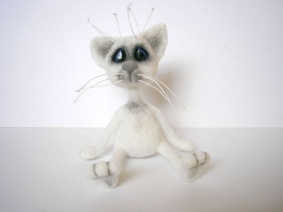 Hand crafted needle felting white cat doll toy miniature from lamb wool ooak #AllOccasion