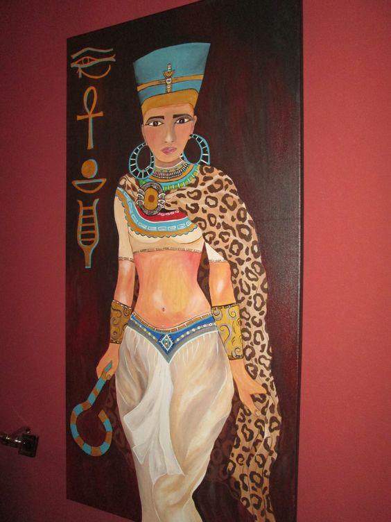 boneca egipsia pintada em tela
