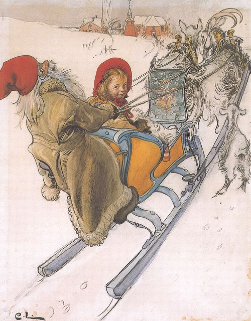 "Carl Larsson (Swedish, 1853-1919), ""Kersti's Sleigh Ride"" 