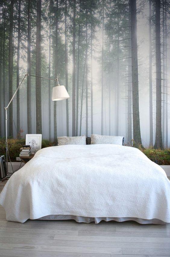 schlafzimmer tapeten ideen wald muster