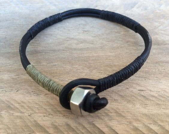 This simple but stylish bracelet is a great choice from my Guys collection. Made from two strips of 3mm black leather cord, wrapped in sections with black and army green waxed linen. Stainless steel nut and leather loop closure. This bracelet will add style to any guys wardrobe. Each bracelet is custom made to fit your wrist, so I will need your true wrist size. I will add extra length for that perfect fit. The easiest way to measure your wrist is to take a string, wrap it around your wrist,...