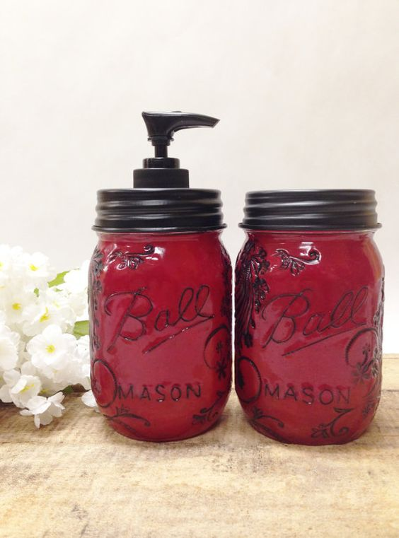 Maroon Mason Jar Soap Dispenser& Storage Jar Set with Design: