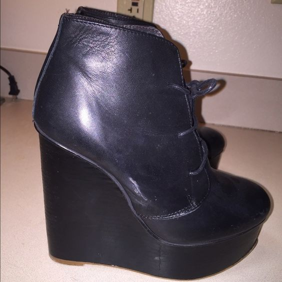 TopShop black leather ankle booties Genuine leather. Made in Spain. Bought in UK. Almost new. Wore once. The wedge is black. These are fun shoes. Topshop Shoes Ankle Boots & Booties
