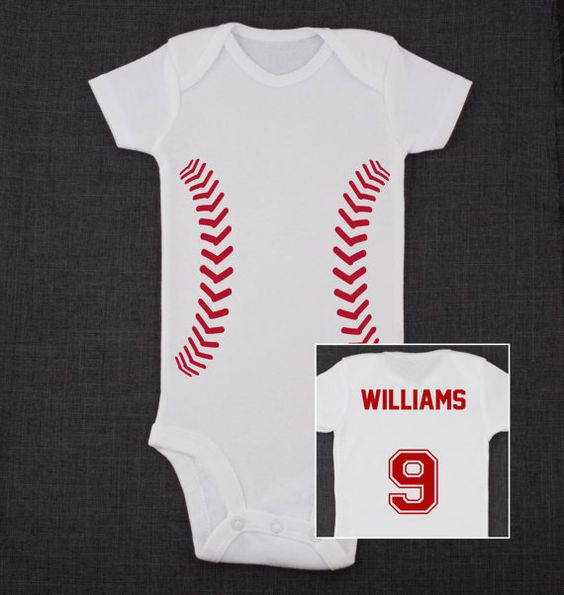 Baseball Baby Bodysuit with Name and Number on the Back    * Please let me know the name and number you would like on the back in the notes section.