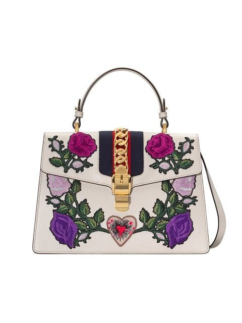 Shop Gucci White Embroidered Sylvie Medium Tote Bag Genuine
