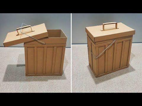 Trash Bin Made By Cardboard صنع سلة مهملات من الكرتون سهلة وجميلة Youtube In 2020 Outdoor Storage Box Outdoor Storage Outdoor Decor