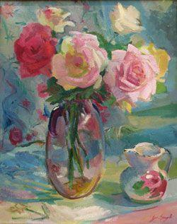 Siegal Roses in Glass Vase