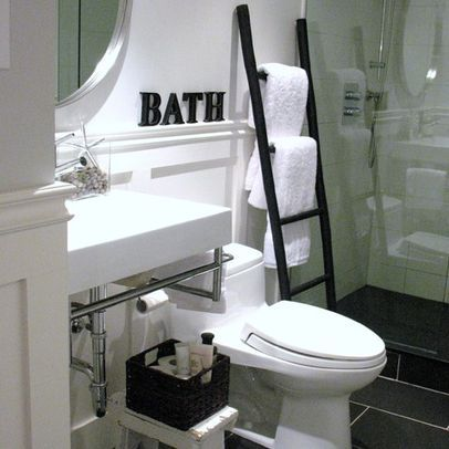 Bathroom with ladder towel rack and stones. Bathroom with ladder towel rack and stones   For the Home