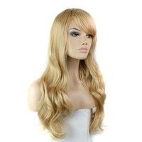 Light Blonde Long Curly Bangs Synthetic Full Cosplay Wigs $17USD