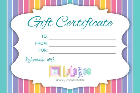 LuLaRoe LuLaRoe Business Ideas Pinterest Lula roe and - free printable blank gift certificates