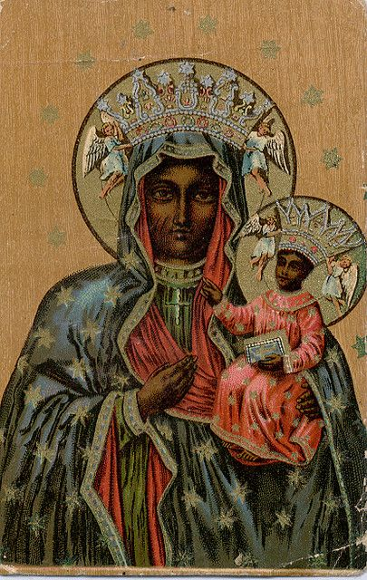 The Black Madonna of Czestachowa. The Eastern Churches usually have biblical religious figures painted in colours with more tanned/ebony, or Middle Eastern complexion, than those art in western churches. This is likely due to the fact that Eastern churches are more ancient and have better knowledge about the historical description of the people of the bible and related religions.