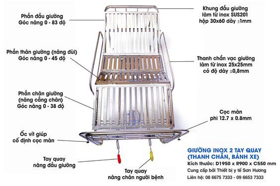 Giường Inox 2 Tay Quay D1950 x R900 x C550 (nệm, thanh chắn, bánh xe)
