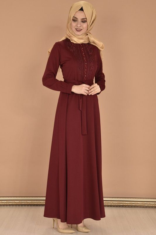 Modamerve On Dantelli Boncuklu Elbise Bordo Yag 13099 1 Elbise The Dress Elbise Modelleri