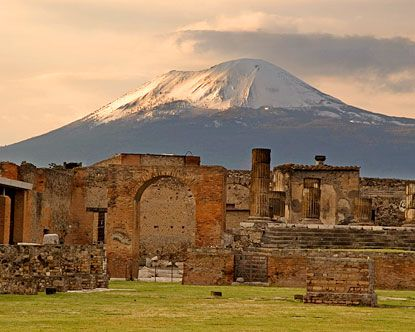 Pompeii - such an amazing place.  A town frozen in time when the volcano in the background covered it in ash......