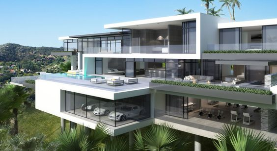 Fetching Starlight Mansion Home Plans in white color featuring terrace with lounge chair swimming pool garage glass window exterior gardening