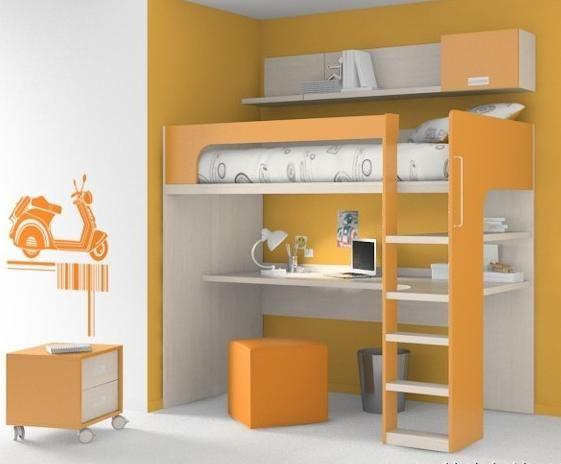 Habitaciones con poco espacio soluci n cama con for Habitaciones con muebles blancos
