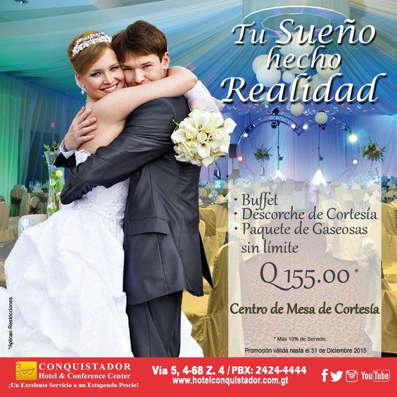 Ven y pregunta por nuestros paquetes de bodas y has tu sueño una realidad. Solicita más información al 2424-4444.