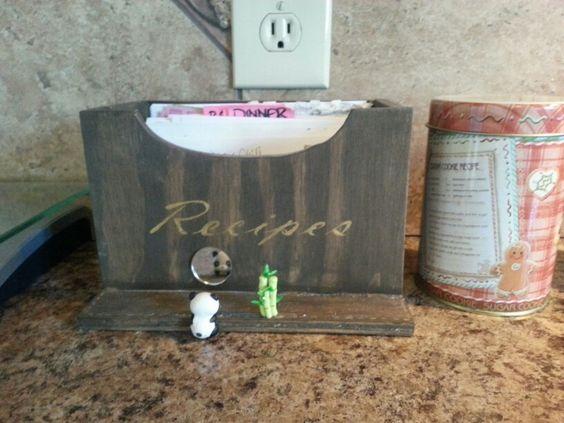 Handmade recipe box. Panda bamboo
