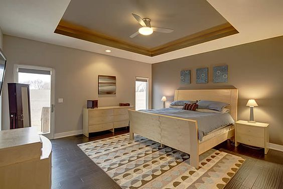 Widhalm custom homes omaha woodland model master bed bedroom maple furniture modern contemporary Master bedroom with espresso furniture
