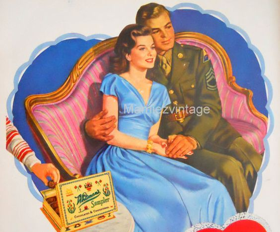 WWII War Valentine's Day Ad/  Whitmans Candy by mamiezvintage, $12.00: