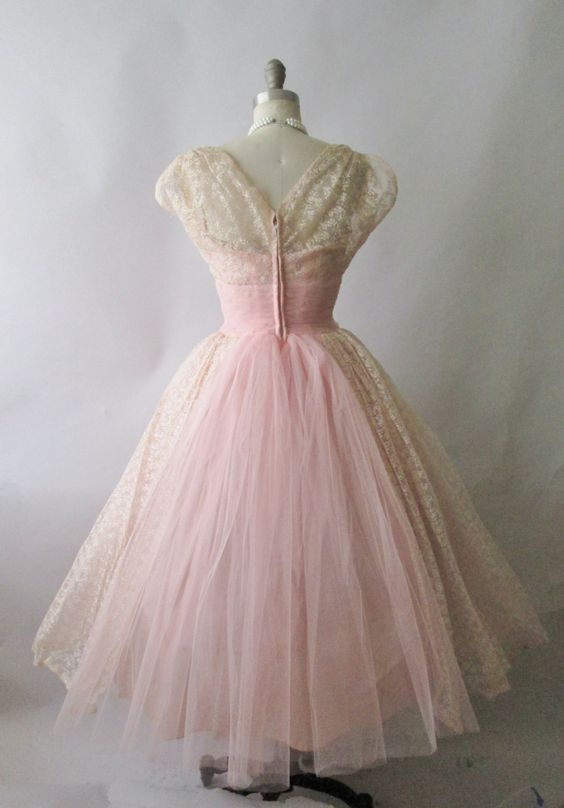 50 S Prom Dress Vintage 1950 S Embroidered Pink Tulle