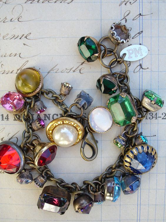 Color wheel vintage rhinestone button bracelet by paulamontgomery