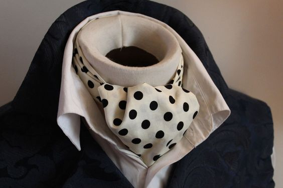 Day Ascot Cravat Tie - 100Cotton Ivory with Black Dot
