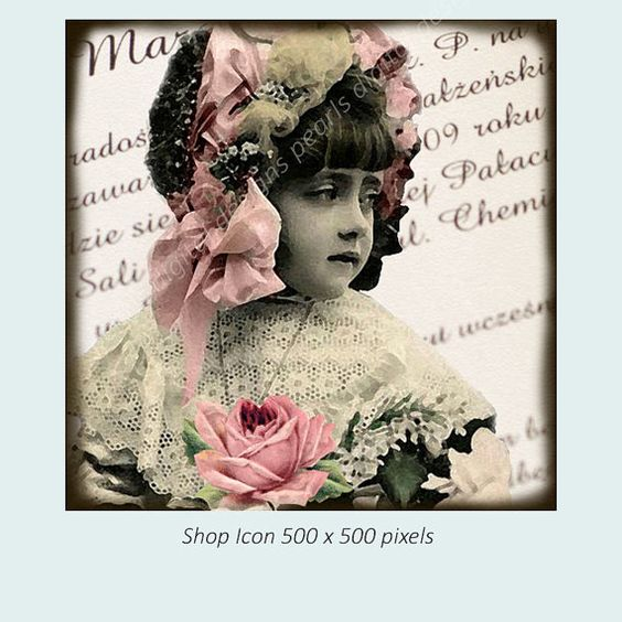 Shop icon Design Vintage girl instant by PearlsDigitalDesigns