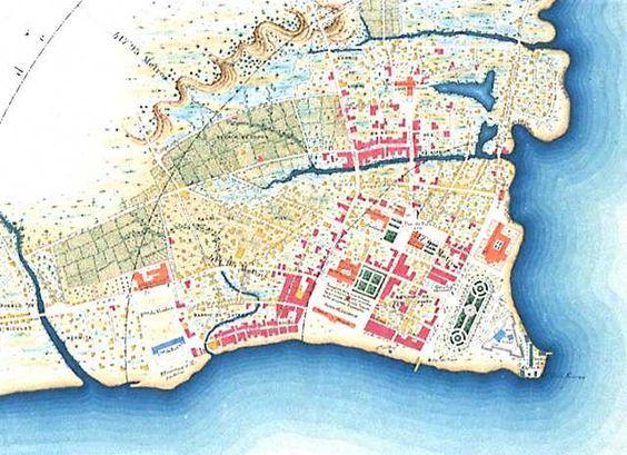 La ciudad de Cebú en 1880. SHM A finales del siglo XIX Cebú era una población de calles regulares y espaciosas, sin empedrar, en la que predominaban las construcciones rústicas y destacaban algunos edificios como la Catedral, el convento de agustinos o la casa de Gobierno. Cebú