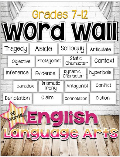 FREE! English Language Arts Word Wall for Grades 7-12. 60 words.*The CCSS requires your instruction to incorporate academic and content vocabulary. As you teach your units of study, just add the words you will cover in your lessons. Your classroom environment should include a word wall. During your observations it will be noted that you have your content vocabulary displayed.*