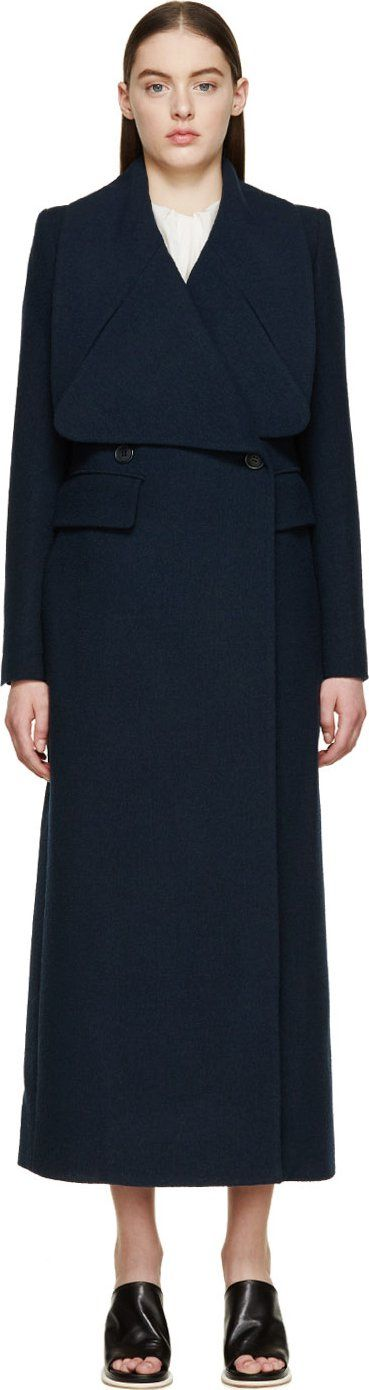 Chloé Navy Wool Crêpe Long Double-Breasted Coat