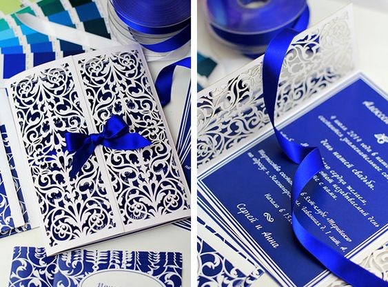 Элегантная черничная свадьба, ажурные приглашения на свадьбу в синем цвете