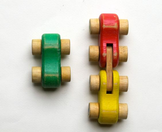 Vintage 1950's Wood Toy Cars - Cars Collection.: Kids Toys Wood