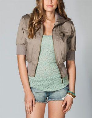 Cropped short sleeve khaki jacket