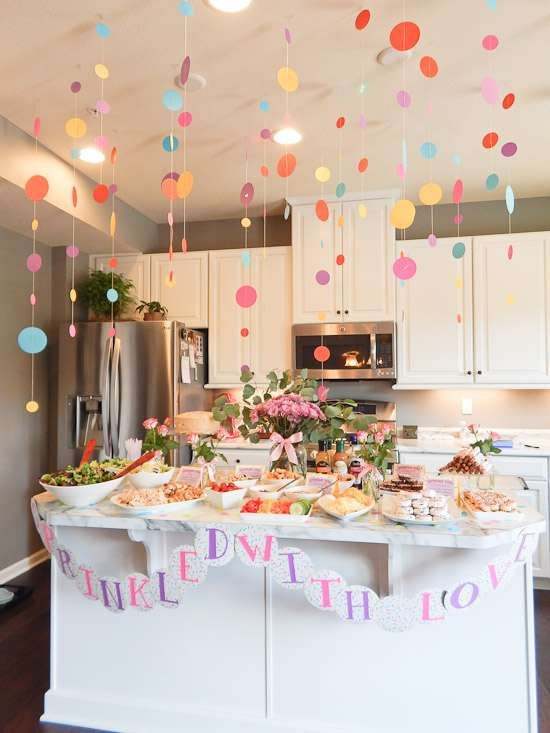 Sprinkles baby shower party ideas circles sprinkle for Baby girl birthday party decoration ideas