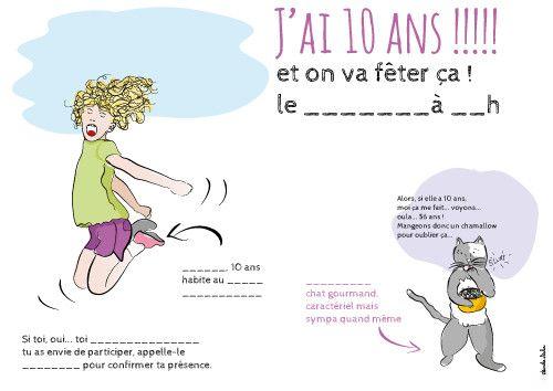 carte d anniversaire 10 ans Carte D'invitation Anniversaire Fille 10 Ans Gratuite À Imprimer