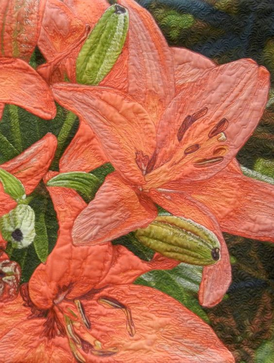 """Close-up, """"Lilies"""" by Rita Blocksom. Quilted by Sharon Brooks. 2nd place winner, 2013 AZQG. Photo by Quilt Inspiration:"""