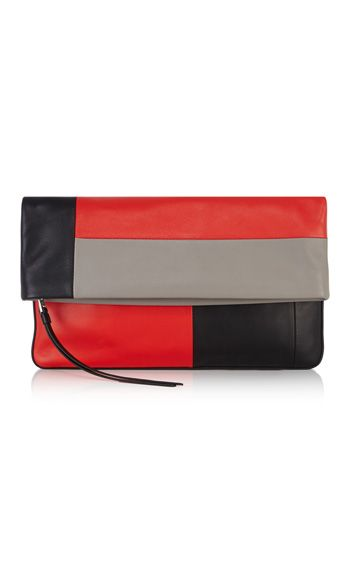 Limited Edition - Soft smooth leather fold over clutch with concealed compartment and exaggerated strap puller