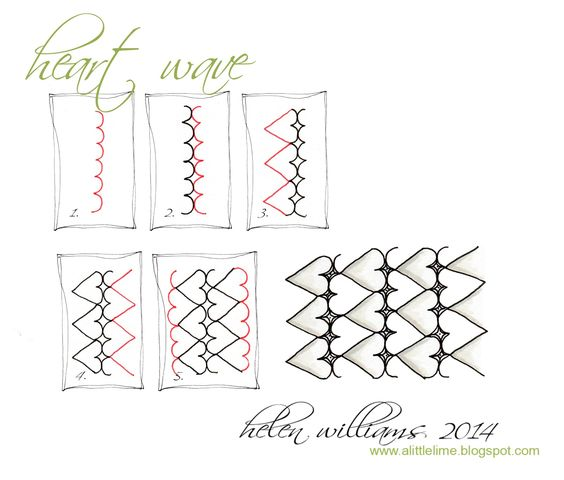 Zentangles Patterns Step By Step heart wave step by ste...